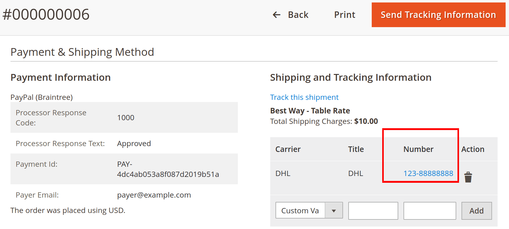 Created tracking number of the order