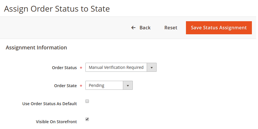 Assign Order Status To State