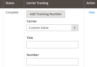 Orders actions add Tracking Number