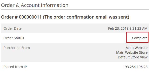 Order information Complete