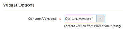 Example, Content Versions dropdown list