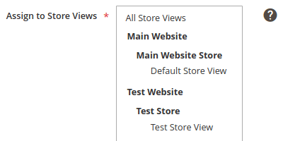 Assign to Store Views list box