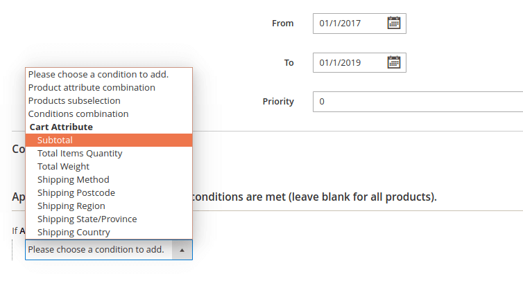 Example, Date and Time picker, Priority and Conditions for Promotion Message