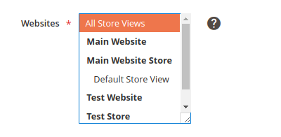 Example, Websites list box