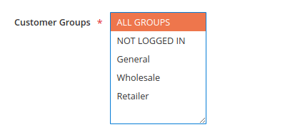 Example, Customer Groups list box