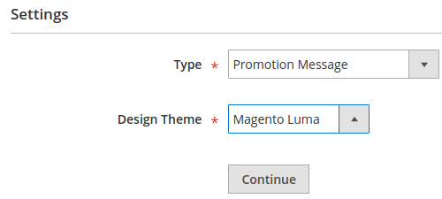 Example, Widgets Settings, Type and Design Theme list boxes