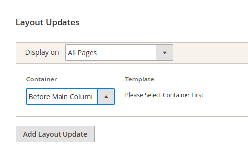 Example, Display On and Container dropdown lists