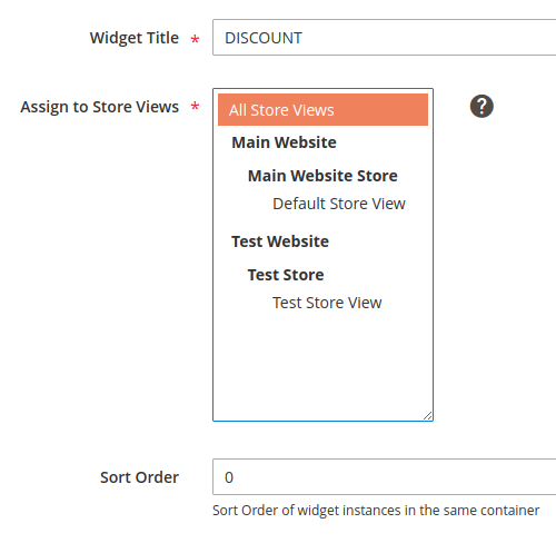Example, Widget Title field, Assign to Store Views list box and Sort Order field
