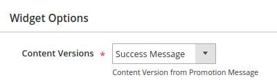 Success Message: Content Versions dropdown list