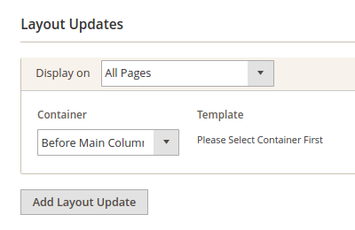 Success Message: Display On and Container dropdown lists